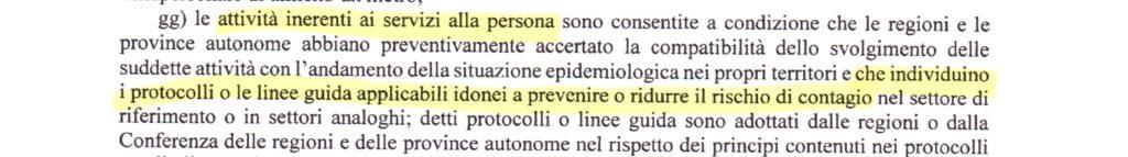 Art.1 lettera gg Attività inerenti ai servizi alla persona
