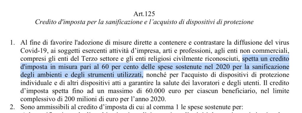 Credito d'imposta per la sanificazione e l'acquisto di dispositivi di protezione (art 125 pag 155)
