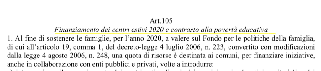Finanziamento dei centri estivi 2020 e contrasto alla povertà educativa