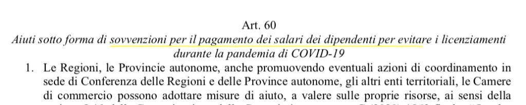 Sovvenzioni per il pagamento dei salari per evitare i licenziamenti(Art. 60 pag 76)